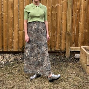 Big cat print leopard long skirt